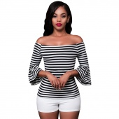 Black White Stripes Off-the-shoulder Top