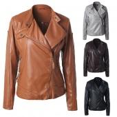 Mens Slim Fit Diagonal Zip Up Front Leather Jacket S-XXL