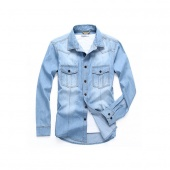 Fashion Men Casual Blouse Denim Shirts Long Sleeve Pockets Tops with Fastener Cuffs