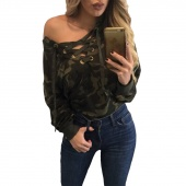 Women Fashion Sexy Lace Up V-neck Off-shoulder Blouse Camouflage Long Sleeve Top