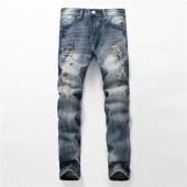 Man Ripped Jeans Slim Straight Metrosexual Size Trousers Retro Beggar Patch Denim Pants