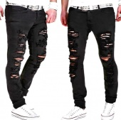 Fashion Ripped Frayed Black Casual Jeans Pants for Men