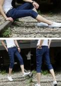 Men's Casual Denim Jeans Cropped Trousers Simple Loose Solid Color Shorts Pants Straight Leg Jeans Plus Size