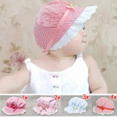 Stylish Cozy Baby Infant Girls Lace Flower Sun Bucket Summer Cotton Hat 3-24 Months