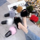 Fur Furry Slide Sweet Ostrich Feather Thick Bottom Beach Female Sandals Hair Flip Flops Women Home Slippers Indoor Soft