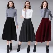 Fashion Women Winter High Waist Solid Color Mid-calf A-line Long Maxi Woolen Skirts