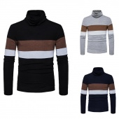 Winter Casual Fashion Striped Print Sweaters Slim Fit Turtleneck Long Sleeve Men Tops