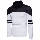 Spring Casual Patchwork Striped Print Turtleneck Pullover Slim Fit Long Sleeve Men Sweaters