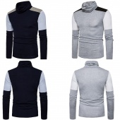 Autumn Winter Casual Patchwork Print Pullover Slim Fit High Collar Men's Sweaters