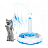 Pet Cat Electric Toys Teaser Interactive Cats Toy Rotating designed Funny Feather Toys For Pet Cats