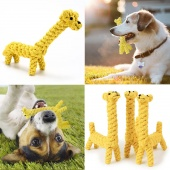 Cute Giraffe Rope Knit Teeth Clean Pet Toy for Dog Training Biting Chewing