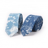 Fashion Flower Print Denim Narrow Neckties for Men Groom Tie Party Suits Accessories