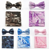Classic Business Camouflage Printed Bow Tie Square Hanky Set for Groom Wedding Suits Bowknot Necktie