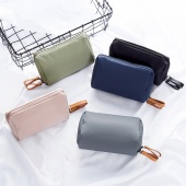 6 Color Portable Waterproof Solid Cosmetic Bags Girl's Makeup Zipper Pouch Storage Handbag