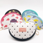 Portable Floral Print Shell Semi-circle PU Leather Cosmetic Bag Organize Storage Travel Pouch