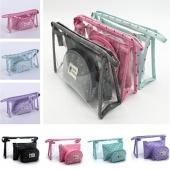 3Pcs/Set Women Fashion Waterproof Portable Transparent Crown Print Cosmetic Toiletry Pouch Bags