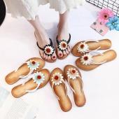 Women Fashion Solid Color Flower Flat Heel Sandals Slipper Beach Shoes