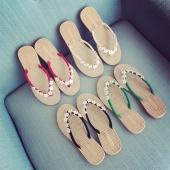 Women Fashion Beach Wear Casual Sandals Flats Flower Slipers Summer Fashion Shoes 4 Color