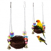 """Pet Bird Nest Swing Hanging Chew Toys Parrot Parakeet Budgie Cockatiel Straw Stand Hammock Cage with Colorful Bells(10.62*4.72"""")"""