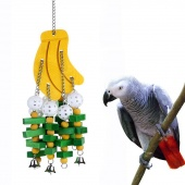 Parrot Pet Bird Bites Climb Hanging Banana Ball Strings Wood Gnawing Swing Claw Paw Toy with Bell