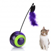 Electronic Motion Cat Toys Feather Interactive Shake Tumbler Toy LED Light Ball Electric Automatic Self Rotating Toys for pet cat