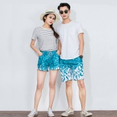 Summer Fashion Casual Couple Lovers Feather Printed Shorts Sport Pants High Waist Beachwear