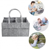 Baby Diaper Portable Nappy Organiser Grey Felt Basket with Changeable Compartments for Mom Newborn Kids Nappies