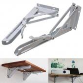 2Pcs 340x140mm White Metal Release Catch Support Bench Table Folding Shelf Bracket