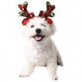 Dog Elk Reindeer Antler Hat Cap Bling Dog Cat Pet Christmas Costume Outfits Small Dog Headwear Hair Grooming Accessories