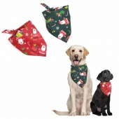 Dog Scarf Tie Elk Santa Claus Candy Snowflakes Patterns Dogs Triangle Scarf Pet Christmas Gift