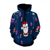 Father Christmas Print Kangaroo Pocket Hoodie Mens Christmas 3D Print Long Sleeve Tracksuit Sweatshirts