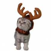 Pet Antlers Cap Hat For Puppy Cat Christmas Elk Antler Reindeer Costume For Small Pet Dog Cats