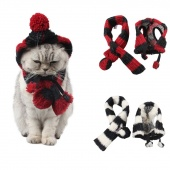 2pcs/set Adjustable Puppy Dog Scarf Autumn Winter Pet Cat Knitted Hat Scarf Dog Coats Warm Products Dog Clothes