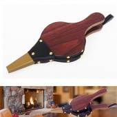 1pc Traditional Bellows Dark Brown Fireplace Blower Stove Fire Handmade Fan BBQ Outdoor Cooking Tools