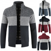 Bold Stripe Stand Collar Sweaters Men Long Sleeve Zipper Coat Winter Tops Male Knitted Clothes
