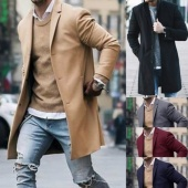 Men Winter Single-breasted Lapel Long Sleeve Knitted Cuff Jacket Casual Overcoat Coat
