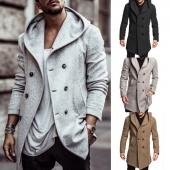 Men British Style Overcoat Long Jacket Woolen Trench Warm Fashion Hooded Jackets Coat Slim Outwear