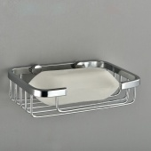 Stainless Steel Wall Mount Square Soap Dishes Shelf Tray Basket Bathroom Shower Soap Holder