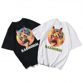 Rasmosim Letter with Music Dog Print Men T-shirt Crewneck Loose Basic Short Sleeve Tees