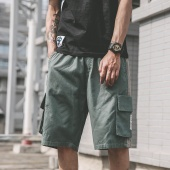 Men Springy Waist Lace Up Half Cargo Pants Summer Leisure Patchwork Baggy Shorts with Pockets