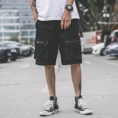 Breathable Plus Size Letter Print Men Short Pants Camouflage Knee Length Male Streetwear Shorts