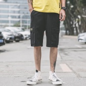 Fashion Loose Pants Knee-length Solid Functional Multi Pockets Cargo Shorts for Men