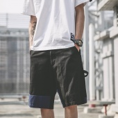Men Irregular Patchwork Cargo Shorts Casual Pockets Short Pants with Zipper Button Closure