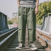 Men Fashion Loose Elastic Waist Eight Pants Multi Pockets Cargo Pants with Drawstring