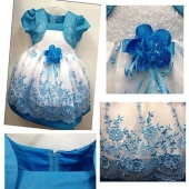 Summer Pageant Kids Girls Princess Embroidery Flower Party Wedding Gown Dresses