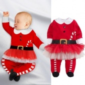 Xmas Santa Claus Toddlers Baby Boys Girls Lace Tulle Romper Playsuit Outfits Set