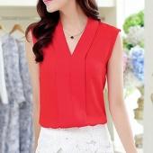 Women's Colourful V Neck Summer Chiffon Blouses Shirt