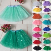Girls Glitter Sequins Star Sparkle Tutu Skirt Ballet Dance Tulle Dressing Up U