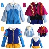 4-10 Years Old Kids Surcoat Frozen Coat Girl Tops with Hood