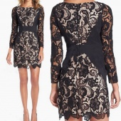 Womens Casual Lace Long Sleeve Mini Evening Summer Cocktail Clubwear Party Dress